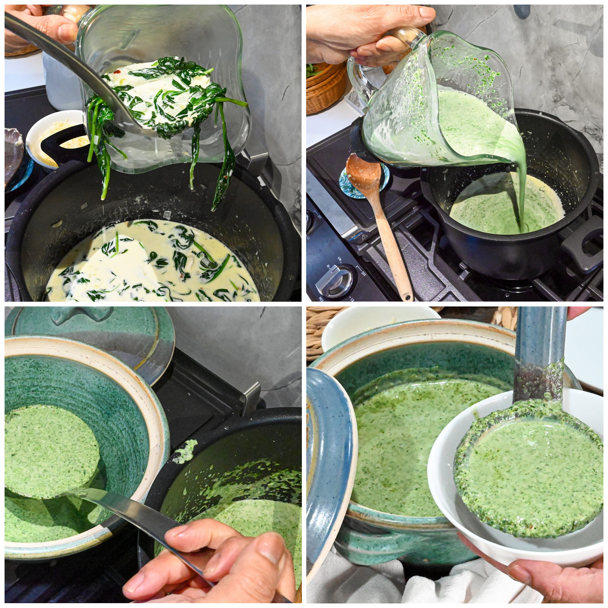 easy keto cream of spinach process pictures