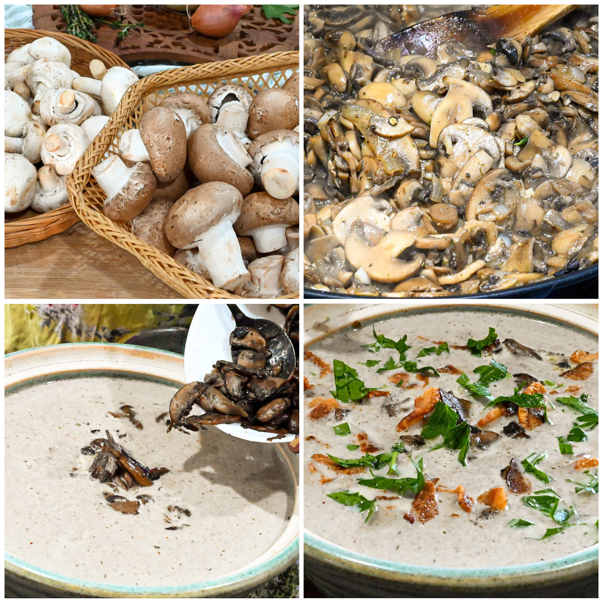 keto mushroom soup process pictures