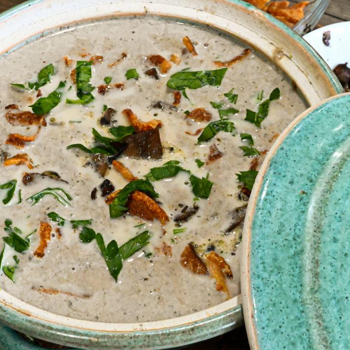 keto cream of mushroom soup served in teal earthen ware